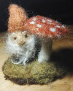 Gnome and toadstool, felted from plant dyed wool fibres