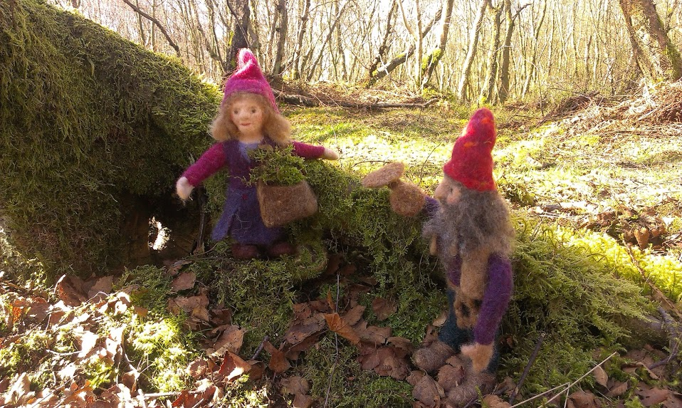 Dwarf lady with moss and dwarf with mushrooms