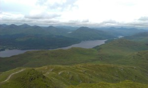 View from the summit towards North-West with Loch Lomond