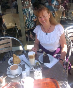 Enjoying coffee and cake on a sunny day in Largs