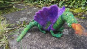Fire dragon, needle felted