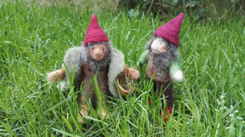 Two gnomes in the lawn, needle felted
