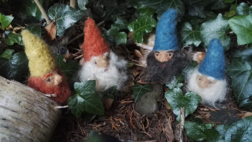 Dwarfs gathering, needle felted from plant dyed wool fibres