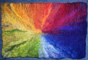 Journey through the rainbow, wet felted picture
